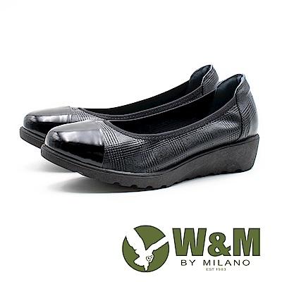 W&M 亮皮鞋頭格紋厚底娃娃 女鞋 - 黑(另有米)