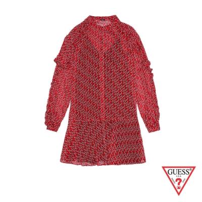 GUESS-女裝-復古圖騰連身洋裝-紅