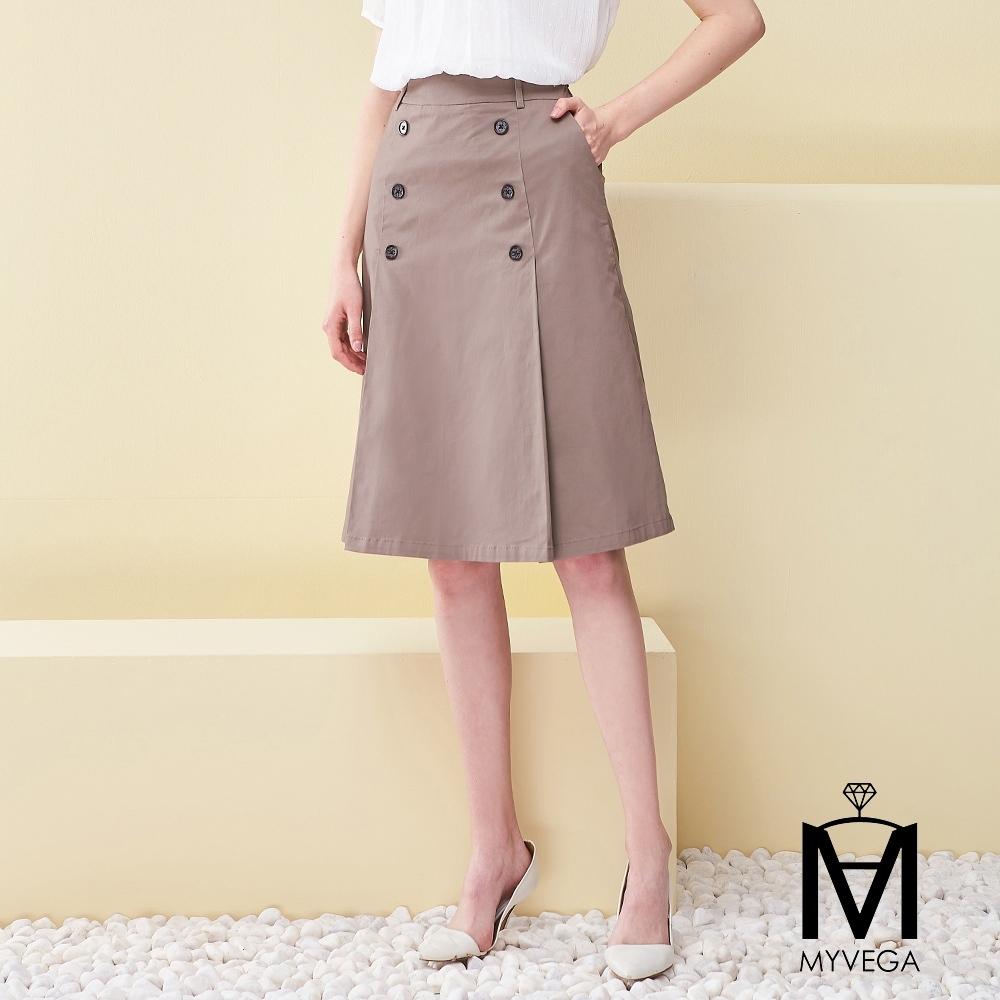 MYVEGA麥雪爾 MA高含棉立挺打褶雙排釦A字短裙-灰