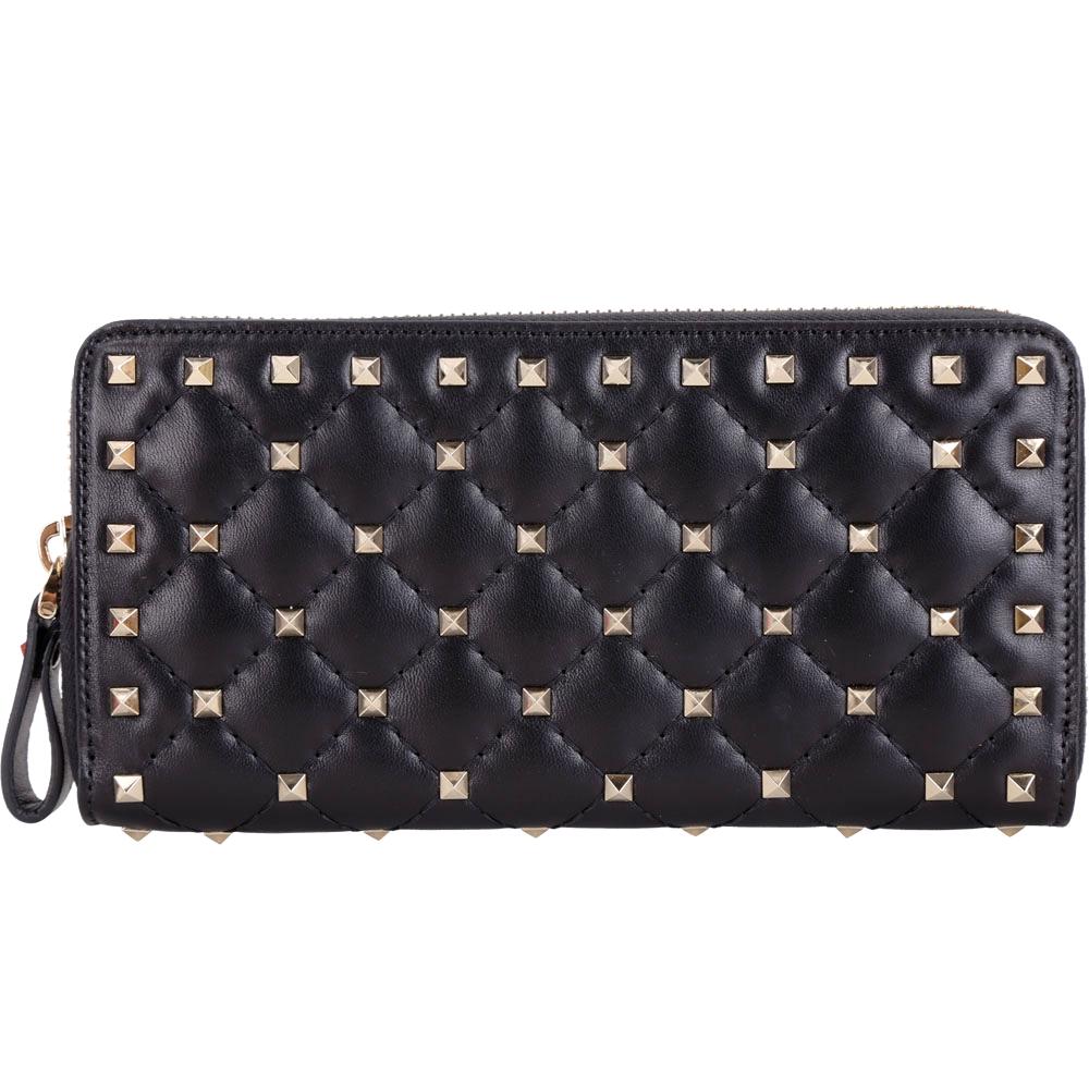 VALENTINO Rockstud Spike 絎縫羊皮菱格鉚釘拉鍊長夾(黑色)