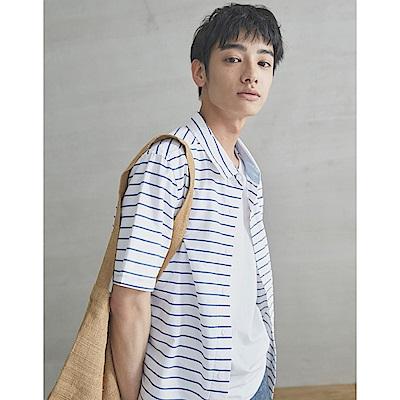 CACO-橫條短襯衫-男【SPA045】