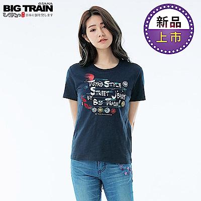 BigTrain和風家徽圓領短袖T女款-女-深藍