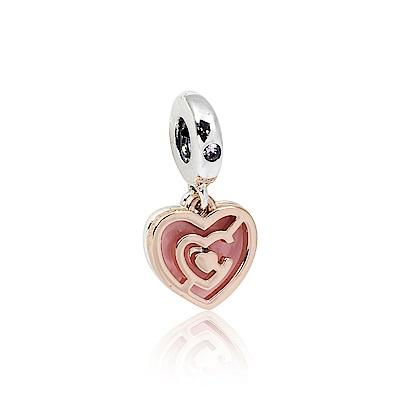 Pandora 潘朵拉 魅力粉色雙心吊牌鑲鋯 垂墜純銀墜飾