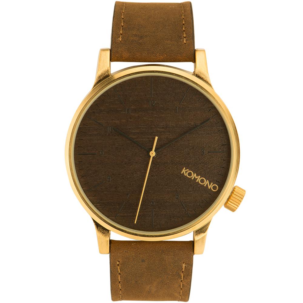 KOMONO Winston 腕錶-布朗棕x原木/41mm