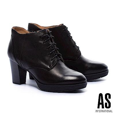 踝靴 AS 知性學院風純色綁帶全真皮高跟踝靴-黑