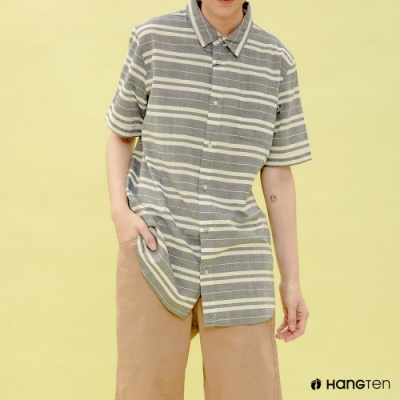 Hang Ten- 青少童裝-純棉條紋襯衫-藍灰色