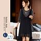 悠美學-韓系中大碼條紋拼接造型洋裝-黑色(L-2XL) product thumbnail 1