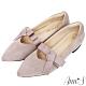 Ann'S高雅緞帶方結沙發後跟平底尖頭鞋-紫灰 product thumbnail 1