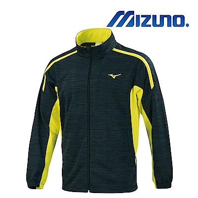 MIZUNO 少年針織運動外套 麻花黑x螢光黃 32TC913289