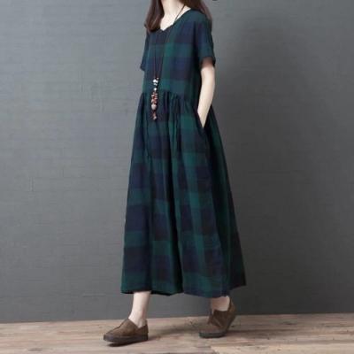 經典撞色格紋毛邊領斜口袋寬鬆洋裝M-2XL-Keer