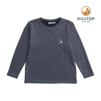 【hilltop山頂鳥】童款混羊毛刷毛保暖上衣H51C91樣衣灰