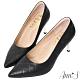 Ann'S嚮往的女人味-小香菱格紋小羊皮電鍍細跟尖頭高跟鞋-黑 product thumbnail 1