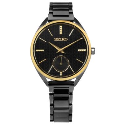 SEIKO 精工 50週年紀念款 獨立秒針視窗 不鏽鋼手錶-黑x金框x鍍深灰/35mm