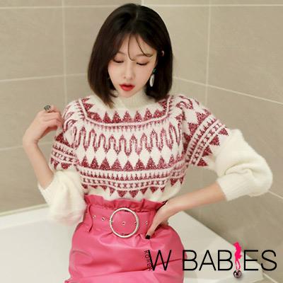 正韓 民族風花紋燈籠袖針織毛衣 (粉紅色)-W BABIES