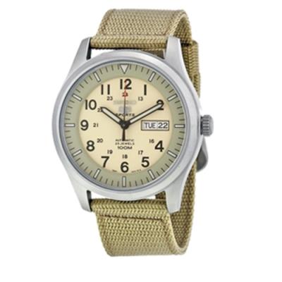 SEIKO精工 休閒夜光盾牌5號自動上鍊男腕錶-米黃x40mm(SNZG07K1)