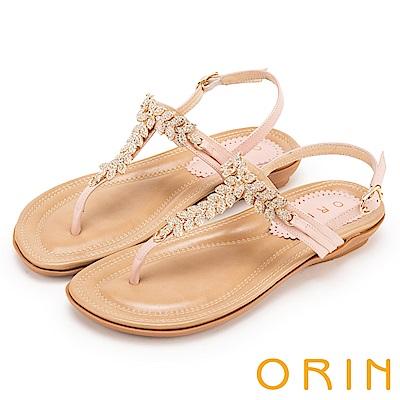 ORIN 耀眼時尚 葉子造型鑽飾牛皮夾腳涼鞋-粉紅