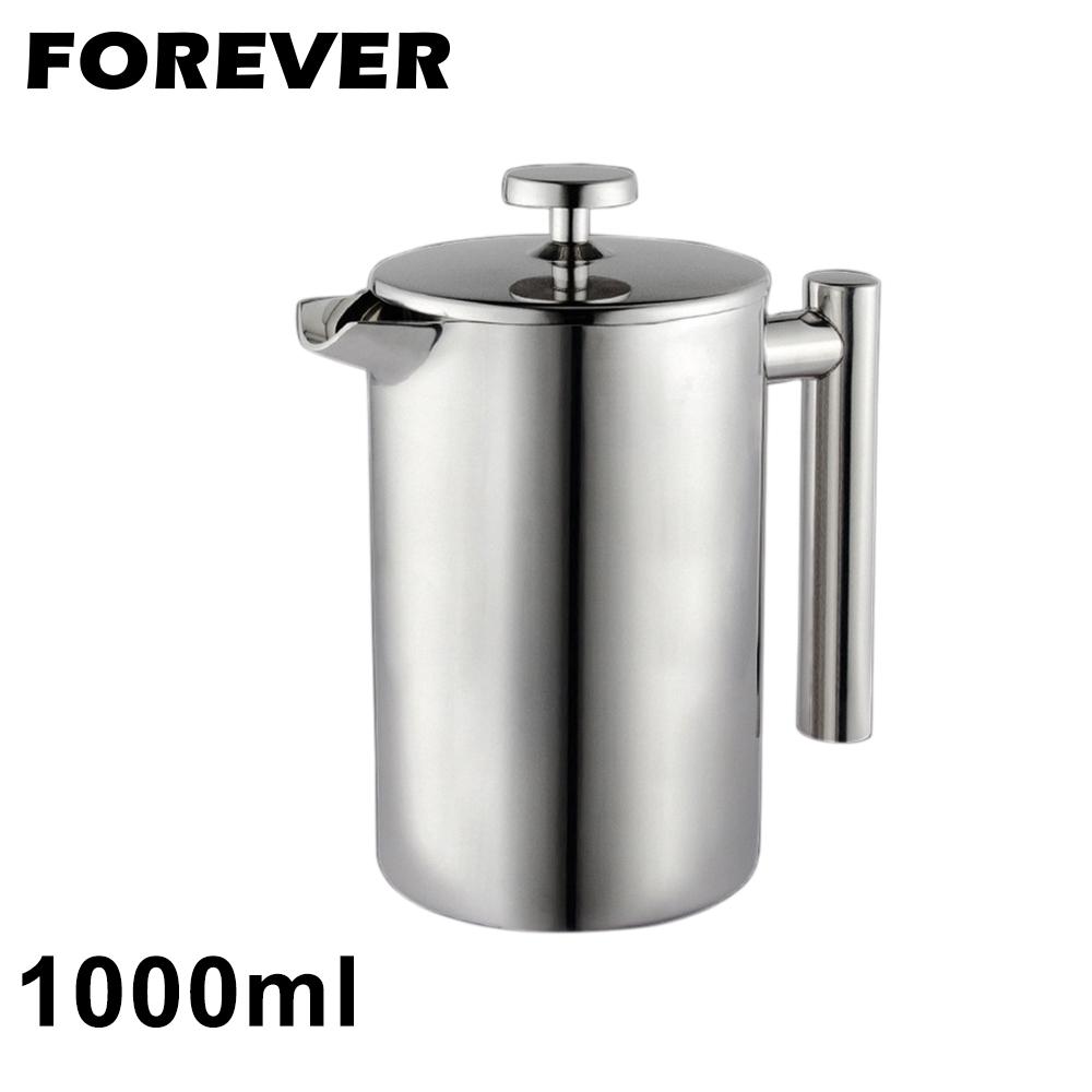 日本FOREVER 304不鏽鋼雙層法式濾壓壺1000ML