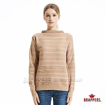 BRAPPERS 女款 半高領落肩長袖線衫-卡其