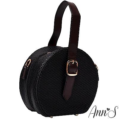 Ann'S個性鮮明-金鍊肩背手提2way圓形小包-黑