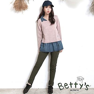 betty's貝蒂思 素色簡約鬆緊窄管褲(深綠)