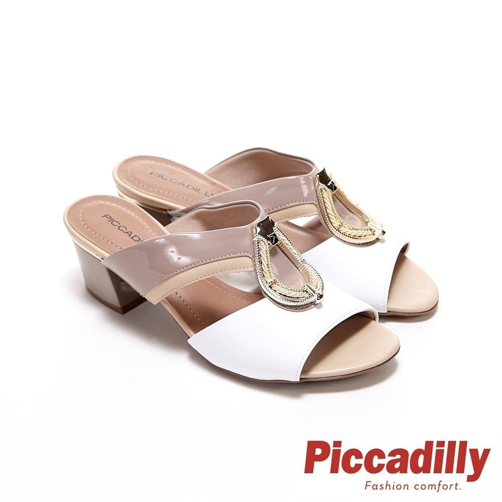 Piccadilly 水滴型金釦三色拚接中跟方跟涼拖鞋 奶茶底+白(另有黑底+奶茶色)