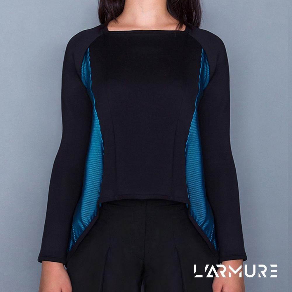 L'ARMURE 女裝 ColorFlow 立體 結構 修身長上衣 立體藍