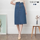 東京著衣 甜美氣質高含棉排釦修身牛仔裙-S.M.L(共二色)