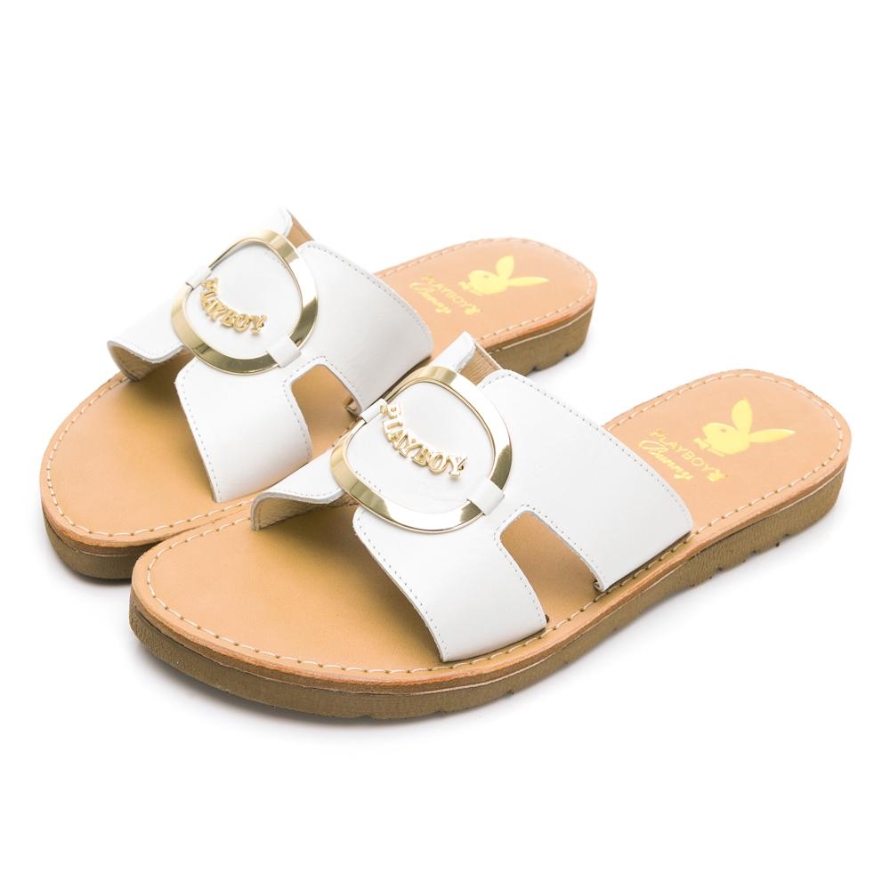 PLAYBOY 柔軟真皮 手工車縫美型涼拖鞋-白-Y732311