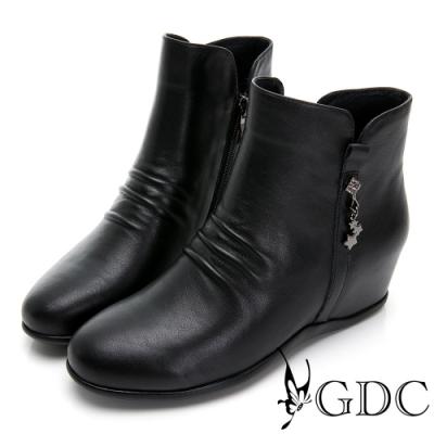 GDC-素色基本真皮抓皺質感內增高短靴-黑色
