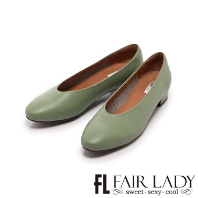 Fair Lady 素面小圓頭低跟奶奶鞋 抹茶