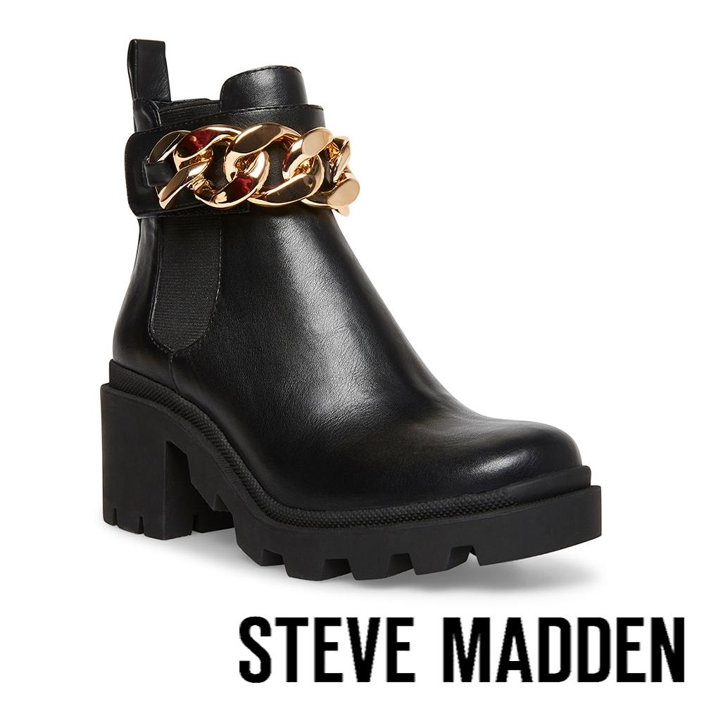 STEVE MADDEN-AMULET-C 金鏈粗跟短靴-黑色