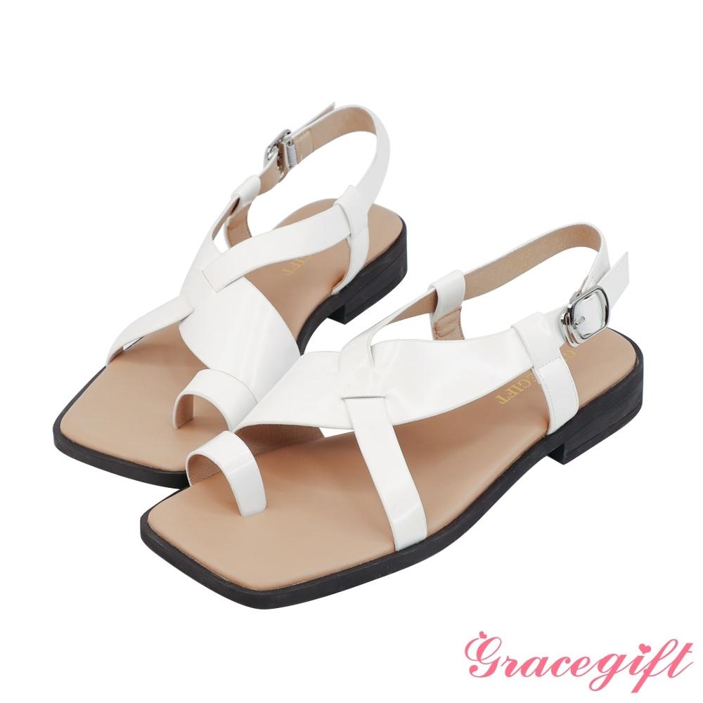 Grace gift-中性交叉套趾低跟涼鞋 米白