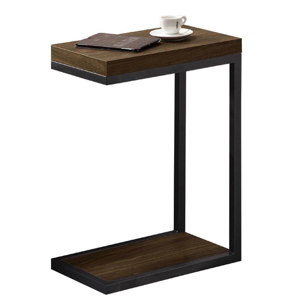 【AT HOME】北歐簡約胡桃色雙層小邊几/客廳桌/矮桌/咖啡桌(雅博德)