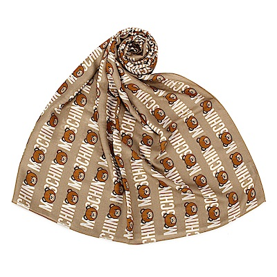 MOSCHINO 經典滿版TOY小熊LOGO字樣 100%莫代爾薄圍巾-卡其色