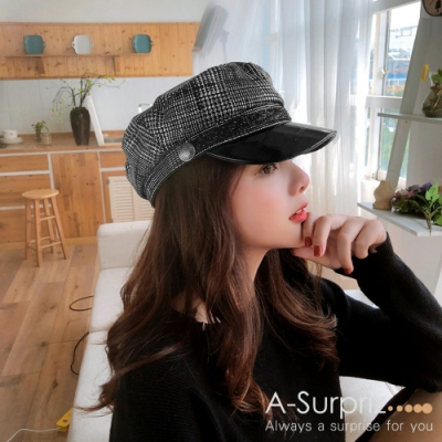 A-Surpriz 細千鳥格拼接皮革貝蕾帽(黑白格)