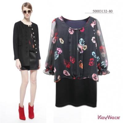 KeyWear奇威名品    100%絲浪漫飄逸假兩件洋裝-黑色