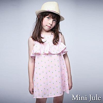 Mini Jule 洋裝 滿版鳳梨條紋無袖露肩洋裝(粉)