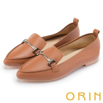 ORIN 優雅品味 金屬飾釦牛皮平底樂福鞋-棕色