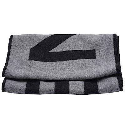 CHANEL經典品牌字母織花絲綢混開士米披肩/圍巾(灰X黑)