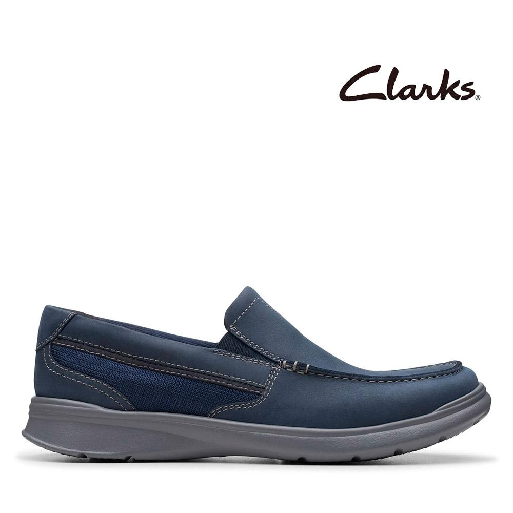 Clarks 樂活休閒 全皮面寬楦感套入式輕量便鞋 海軍藍