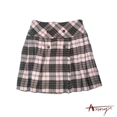 Annys學院風格紋雙排扣百褶短裙*1260粉