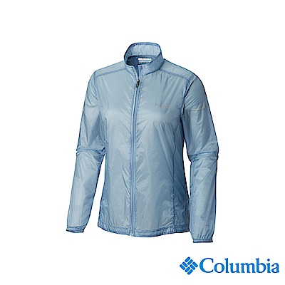 Columbia 哥倫比亞 女款-野跑輕量防潑風衣-灰藍 UAR26810CB