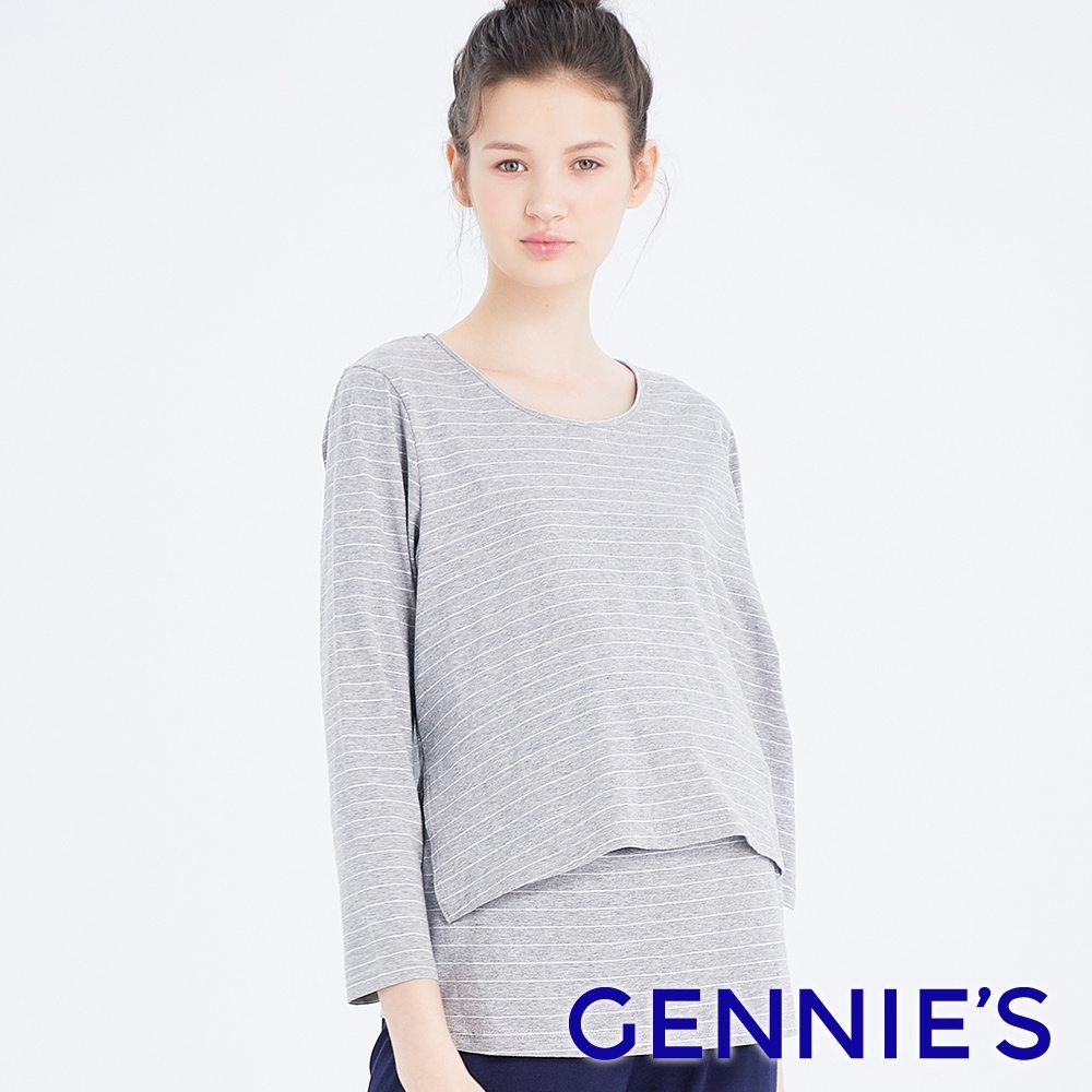 Gennies奇妮-條紋休閒孕婦哺乳上衣(灰白條TPA35)