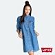Levis 女款 牛仔洋裝 高質感珍珠釦 中藍水洗 product thumbnail 1