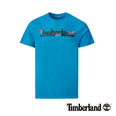 Timberland 男款藍色品牌英文短袖圓領T恤|A1X1G