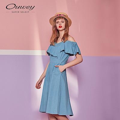 OUWEY歐薇 丹寧露肩荷葉洋裝(藍)