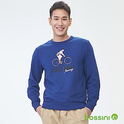 bossini男裝-印花厚棉運動衫06皇家藍