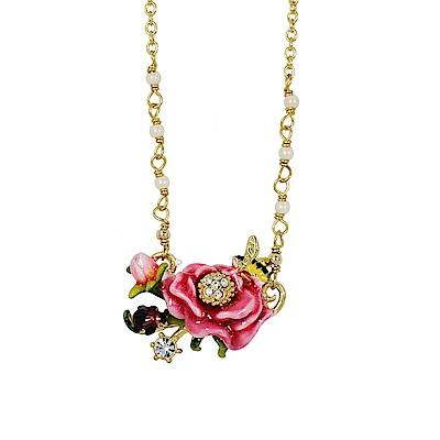 Les Nereides 花卉系列 凡爾賽玫瑰小蜜蜂鑲鑽寶石項鍊