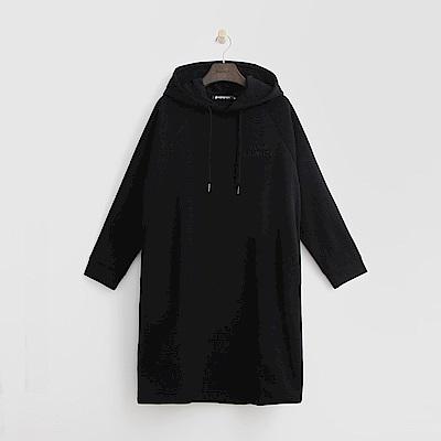 Hang Ten - 女裝 -休閒印字長板帽T-黑色