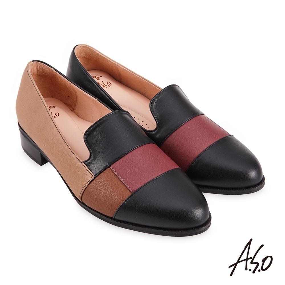A.S.O  職場通勤 健步通勤個性有型拼接低跟鞋-黑